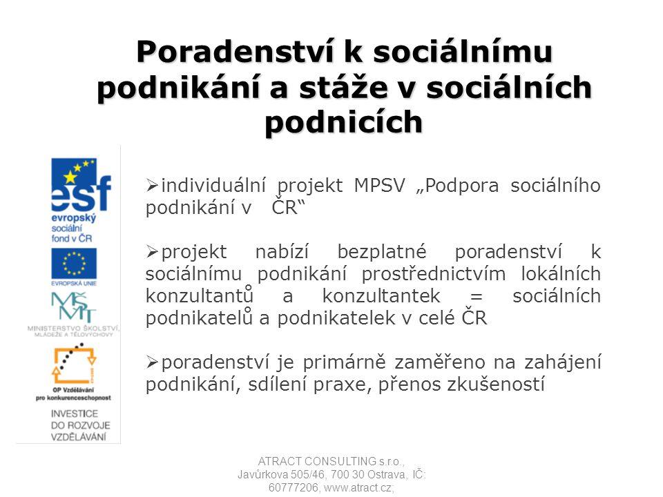 2014 - 2020  Operační program Zaměstnanost  Prioritní osa 2 Sociální začleňování a boj s chudobou  Specifický cíl 2: Rozvoj sektoru sociální ekonomiky Vznik a rozvoj podnikatelských aktivit v oblasti sociálního podnikání, zavedení systému podpory startu, rozvoje a udržitelnosti sociálních podniků (včetně zapojení soukromého sektoru); a další ATRACT CONSULTING s.r.o., Javůrkova 505/46, 700 30 Ostrava, IČ: 60777206, www.atract.cz;