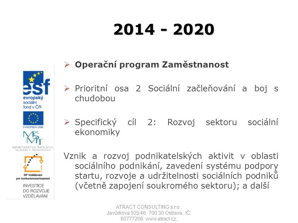 2014 - 2020  Operační program Zaměstnanost  Prioritní osa 2 Sociální začleňování a boj s chudobou  Specifický cíl 2: Rozvoj sektoru sociální ekonom