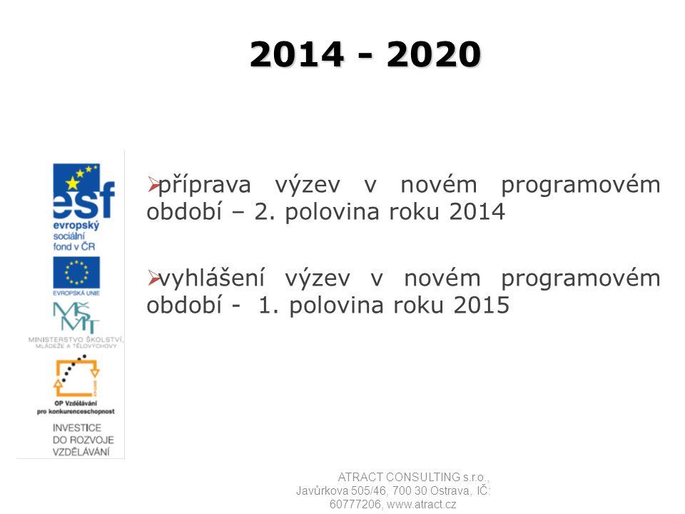 2014 - 2020  příprava výzev v novém programovém období – 2. polovina roku 2014  vyhlášení výzev v novém programovém období - 1. polovina roku 2015 A