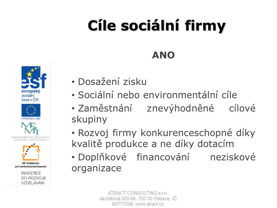Cíle sociální firmy NE Přístup k dotacím Využití občanů ze znevýhodněné cílové skupiny pouze k možnosti daňových výhod a čerpání dotací na pracovní místo Alternativa chráněné dílny Doplňkové financování neziskové organizace ATRACT CONSULTING s.r.o., Javůrkova 505/46, 700 30 Ostrava, IČ: 60777206, www.atract.cz;