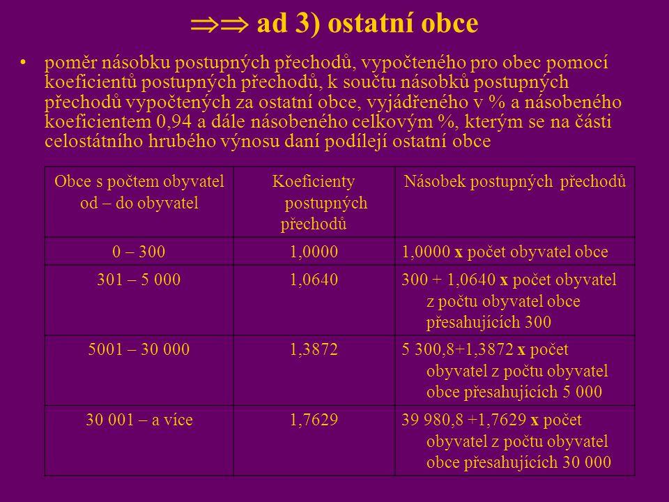  ad 3) ostatní obce poměr násobku postupných přechodů, vypočteného pro obec pomocí koeficientů postupných přechodů, k součtu násobků postupných přec