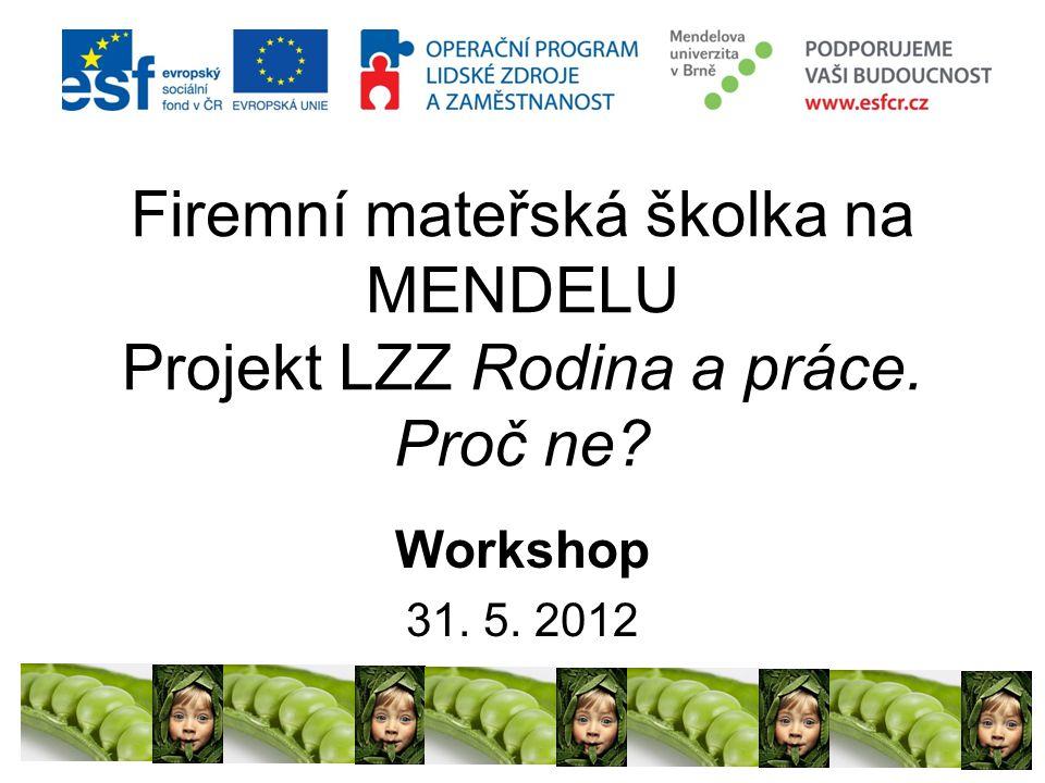 Firemní mateřská školka na MENDELU Projekt LZZ Rodina a práce. Proč ne? Workshop 31. 5. 2012