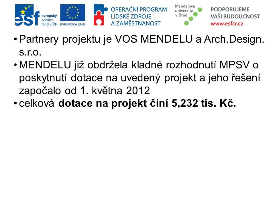Partnery projektu je VOS MENDELU a Arch.Design. s.r.o. MENDELU již obdržela kladné rozhodnutí MPSV o poskytnutí dotace na uvedený projekt a jeho řešen