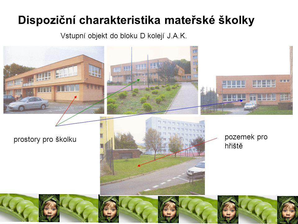 Dispoziční charakteristika mateřské školky pozemek pro hřiště prostory pro školku Vstupní objekt do bloku D kolejí J.A.K.
