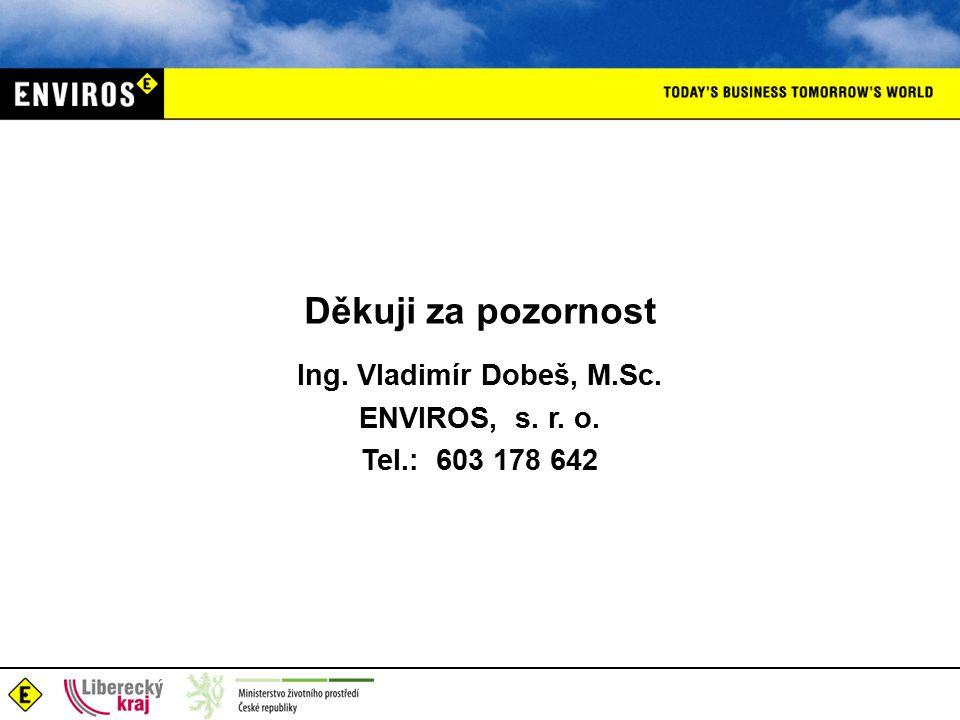 Děkuji za pozornost Ing. Vladimír Dobeš, M.Sc. ENVIROS, s. r. o. Tel.: 603 178 642