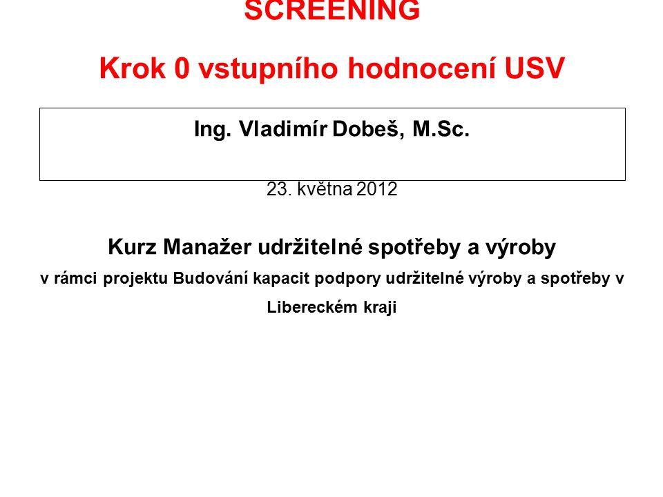 SCREENING Krok 0 vstupního hodnocení USV Ing. Vladimír Dobeš, M.Sc. 23. května 2012 Kurz Manažer udržitelné spotřeby a výroby v rámci projektu Budován