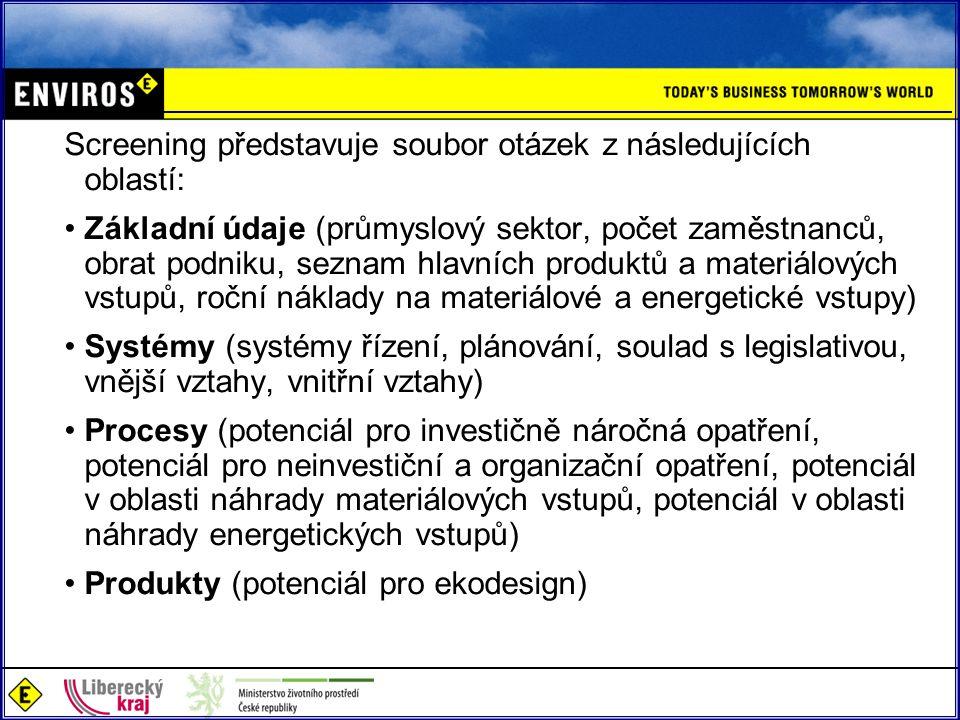 Screening představuje soubor otázek z následujících oblastí: Základní údaje (průmyslový sektor, počet zaměstnanců, obrat podniku, seznam hlavních prod