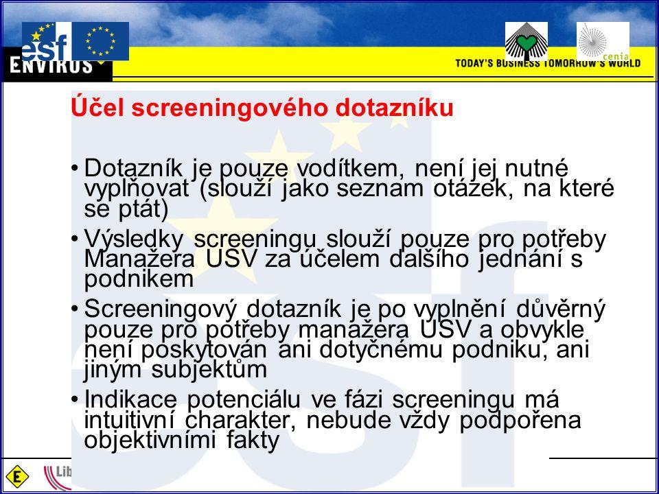 Účel screeningového dotazníku Dotazník je pouze vodítkem, není jej nutné vyplňovat (slouží jako seznam otázek, na které se ptát) Výsledky screeningu s