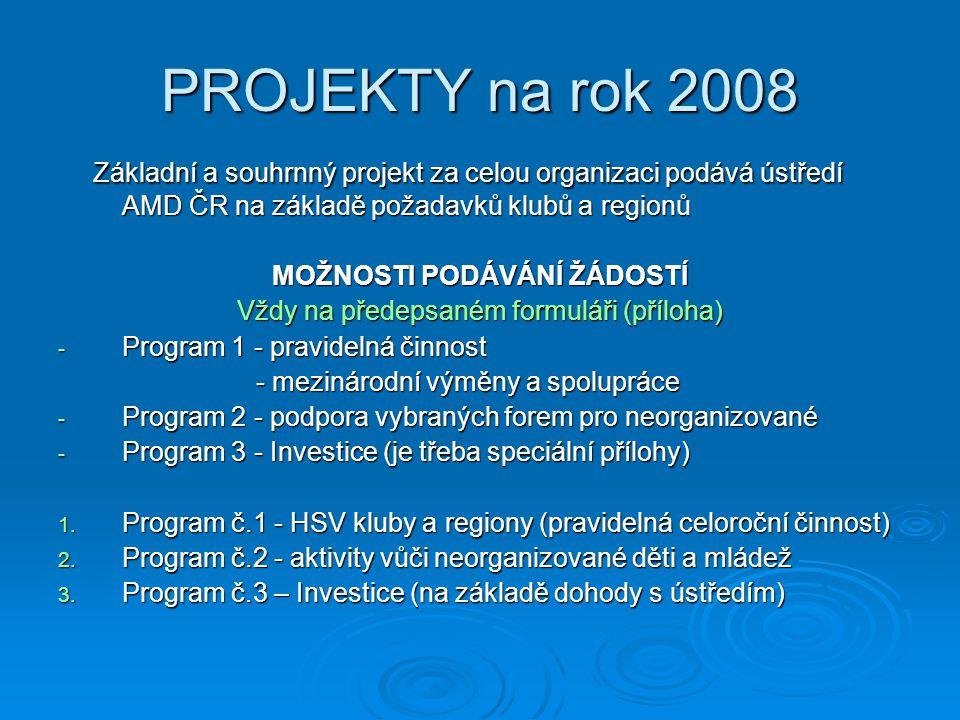 PROJEKTY na rok 2008 Základní a souhrnný projekt za celou organizaci podává ústředí AMD ČR na základě požadavků klubů a regionů Základní a souhrnný projekt za celou organizaci podává ústředí AMD ČR na základě požadavků klubů a regionů MOŽNOSTI PODÁVÁNÍ ŽÁDOSTÍ Vždy na předepsaném formuláři (příloha) - Program 1 - pravidelná činnost - mezinárodní výměny a spolupráce - mezinárodní výměny a spolupráce - Program 2 - podpora vybraných forem pro neorganizované - Program 3 - Investice (je třeba speciální přílohy) 1.