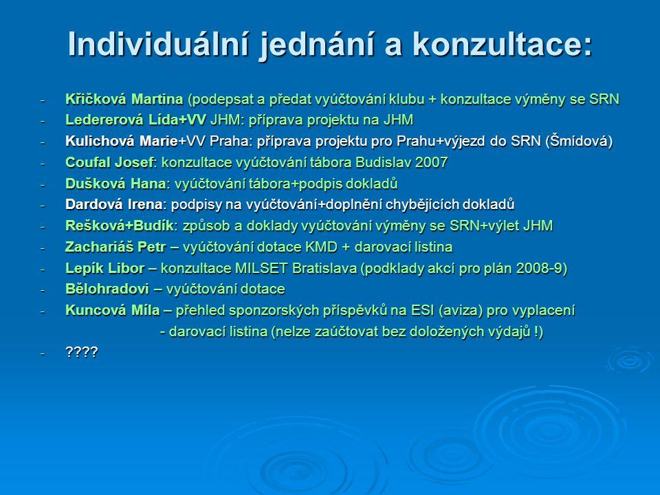 Individuální jednání a konzultace: - Křičková Martina (podepsat a předat vyúčtování klubu + konzultace výměny se SRN - Ledererová Lída+VV JHM: příprava projektu na JHM - Kulichová Marie+VV Praha: příprava projektu pro Prahu+výjezd do SRN (Šmídová) - Coufal Josef: konzultace vyúčtování tábora Budislav 2007 - Dušková Hana: vyúčtování tábora+podpis dokladů - Dardová Irena: podpisy na vyúčtování+doplnění chybějících dokladů - Rešková+Budík: způsob a doklady vyúčtování výměny se SRN+výlet JHM - Zachariáš Petr – vyúčtování dotace KMD + darovací listina - Lepík Libor – konzultace MILSET Bratislava (podklady akcí pro plán 2008-9) - Bělohradovi – vyúčtování dotace - Kuncová Míla – přehled sponzorských příspěvků na ESI (aviza) pro vyplacení - darovací listina (nelze zaúčtovat bez doložených výdajů !) - darovací listina (nelze zaúčtovat bez doložených výdajů !) - ????