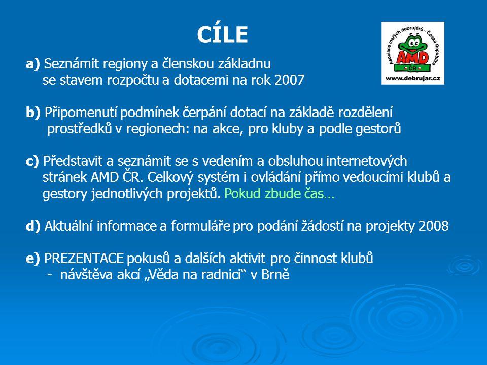 CÍLE a) Seznámit regiony a členskou základnu se stavem rozpočtu a dotacemi na rok 2007 b) Připomenutí podmínek čerpání dotací na základě rozdělení prostředků v regionech: na akce, pro kluby a podle gestorů c) Představit a seznámit se s vedením a obsluhou internetových stránek AMD ČR.