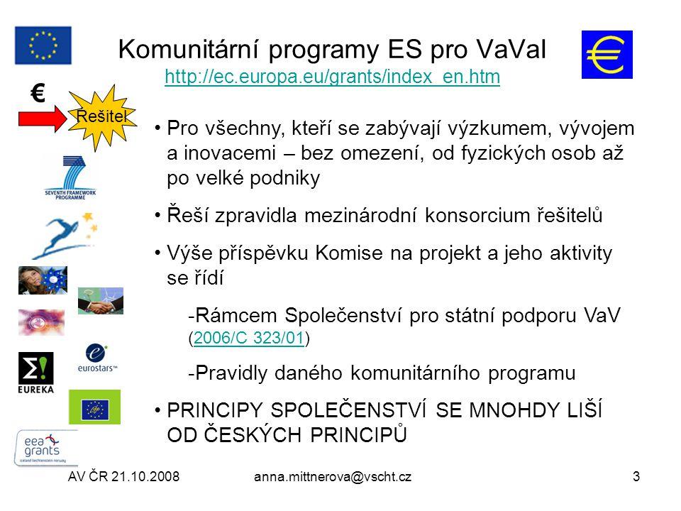 AV ČR 21.10.2008anna.mittnerova@vscht.cz14 URF- Unique Registration Facility https://ec.europa.eu/research/participants/urf https://ec.europa.eu/research/participants/urf Zaregistrujte se http://cordis.europa.eu/fp7/urf_en.html http://cordis.europa.eu/fp7/urf_en.html Validace statutu organizace http://cordis.europa.eu/fp7/urf-valid_en.html http://cordis.europa.eu/fp7/urf-valid_en.html Participant Identification Code (PIC) http://cordis.europa.eu/fp7/urf-pic_en.html http://cordis.europa.eu/fp7/urf-pic_en.html Legal Entity Appointed Representative (LEAR) http://cordis.europa.eu/fp7/urf-lear_en.html http://cordis.europa.eu/fp7/urf-lear_en.html