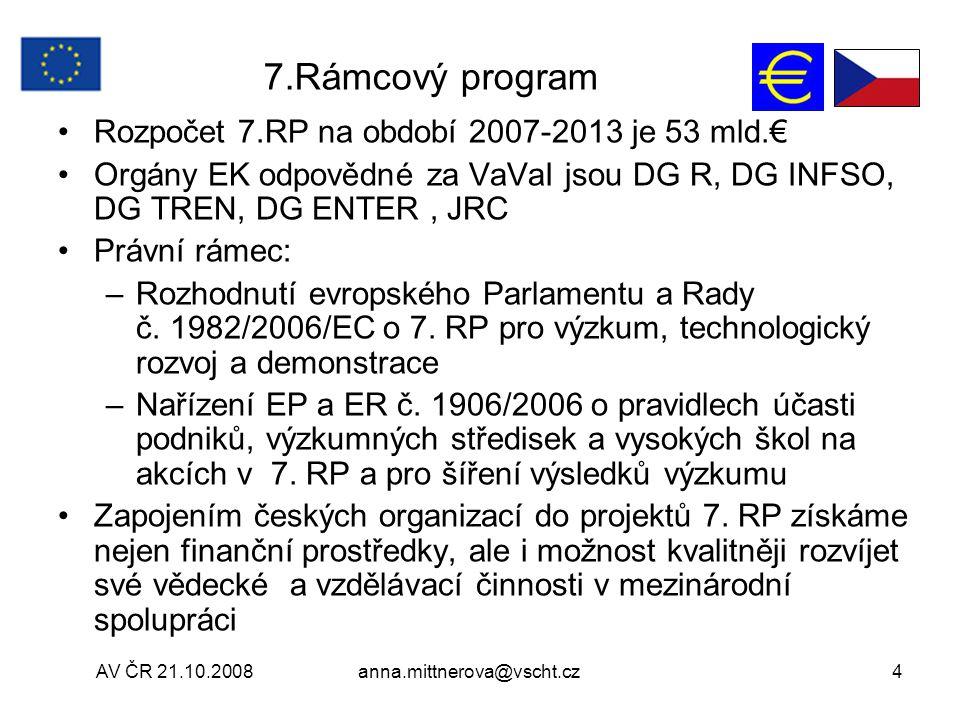AV ČR 21.10.2008anna.mittnerova@vscht.cz4 7.Rámcový program Rozpočet 7.RP na období 2007-2013 je 53 mld.€ Orgány EK odpovědné za VaVaI jsou DG R, DG INFSO, DG TREN, DG ENTER, JRC Právní rámec: –Rozhodnutí evropského Parlamentu a Rady č.