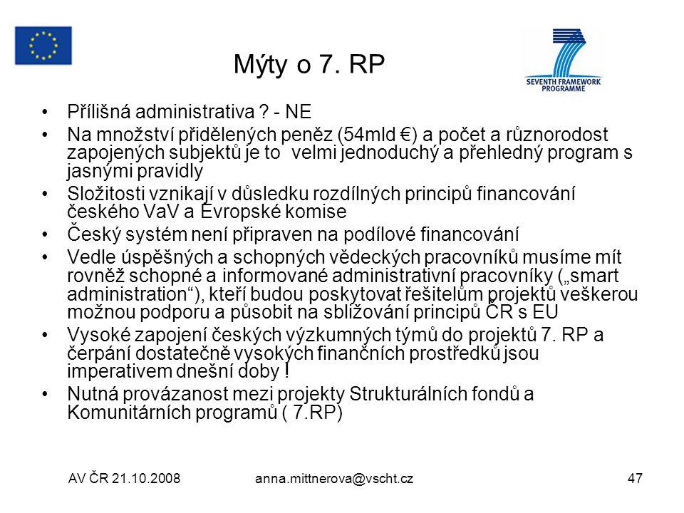 AV ČR 21.10.2008anna.mittnerova@vscht.cz47 Mýty o 7.