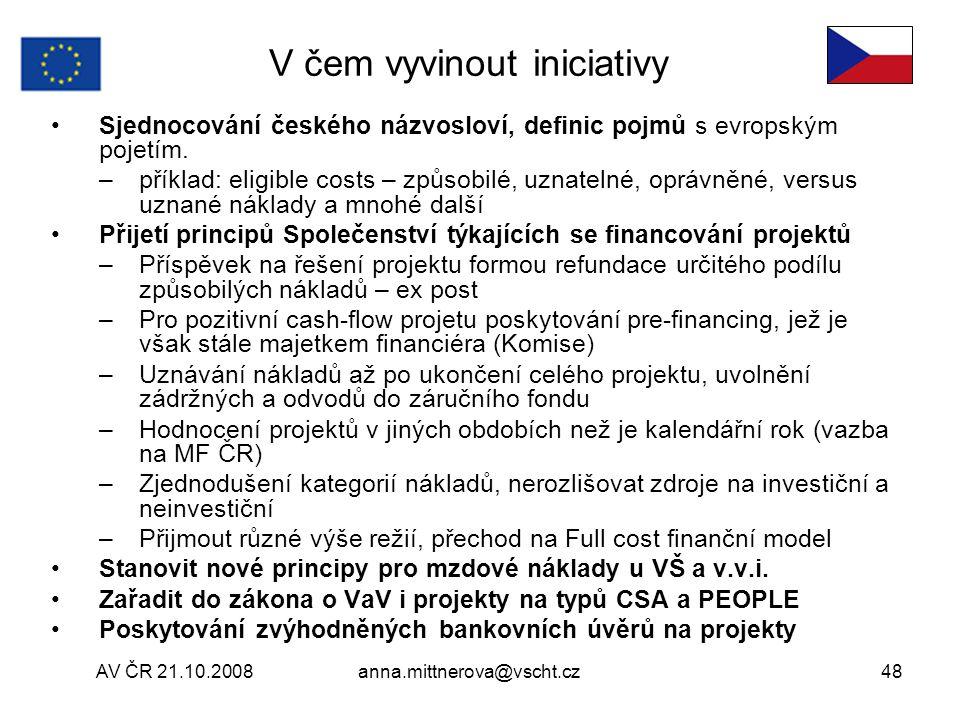 AV ČR 21.10.2008anna.mittnerova@vscht.cz48 V čem vyvinout iniciativy Sjednocování českého názvosloví, definic pojmů s evropským pojetím.