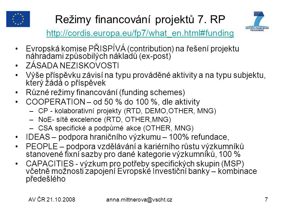 AV ČR 21.10.2008anna.mittnerova@vscht.cz7 Režimy financování projektů 7.