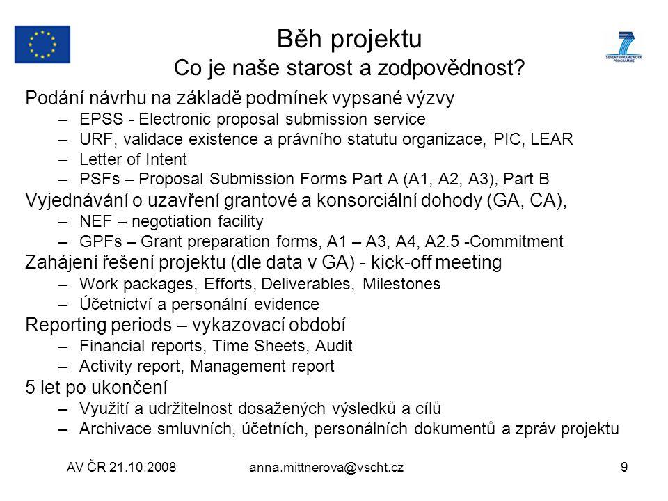 AV ČR 21.10.2008anna.mittnerova@vscht.cz 30 Dobrá praxe z VŠCHT Praha – Záznam o projektu