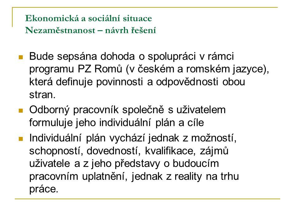 Ekonomická a sociální situace Nezaměstnanost – návrh řešení Bude sepsána dohoda o spolupráci v rámci programu PZ Romů (v českém a romském jazyce), kte