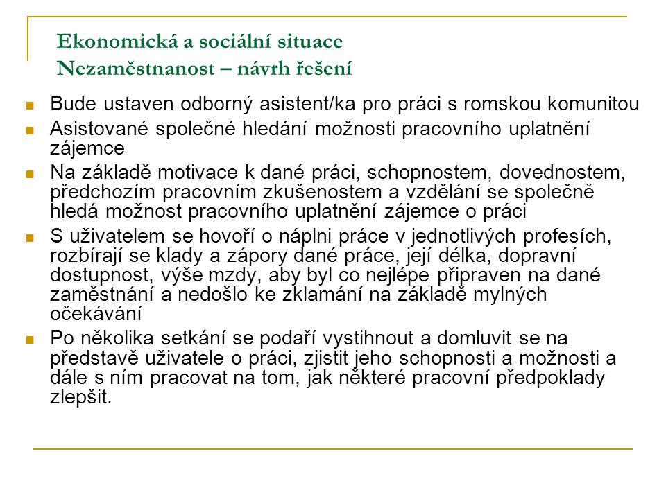 Ekonomická a sociální situace Nezaměstnanost – návrh řešení Bude ustaven odborný asistent/ka pro práci s romskou komunitou Asistované společné hledání