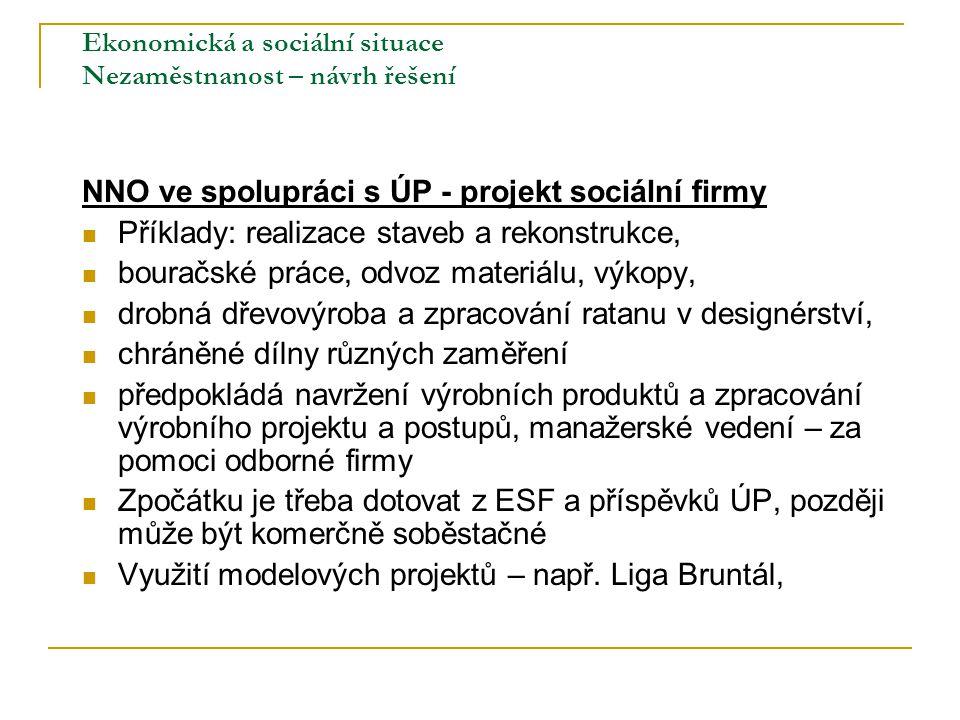 Ekonomická a sociální situace Nezaměstnanost – návrh řešení NNO ve spolupráci s ÚP - projekt sociální firmy Příklady: realizace staveb a rekonstrukce,