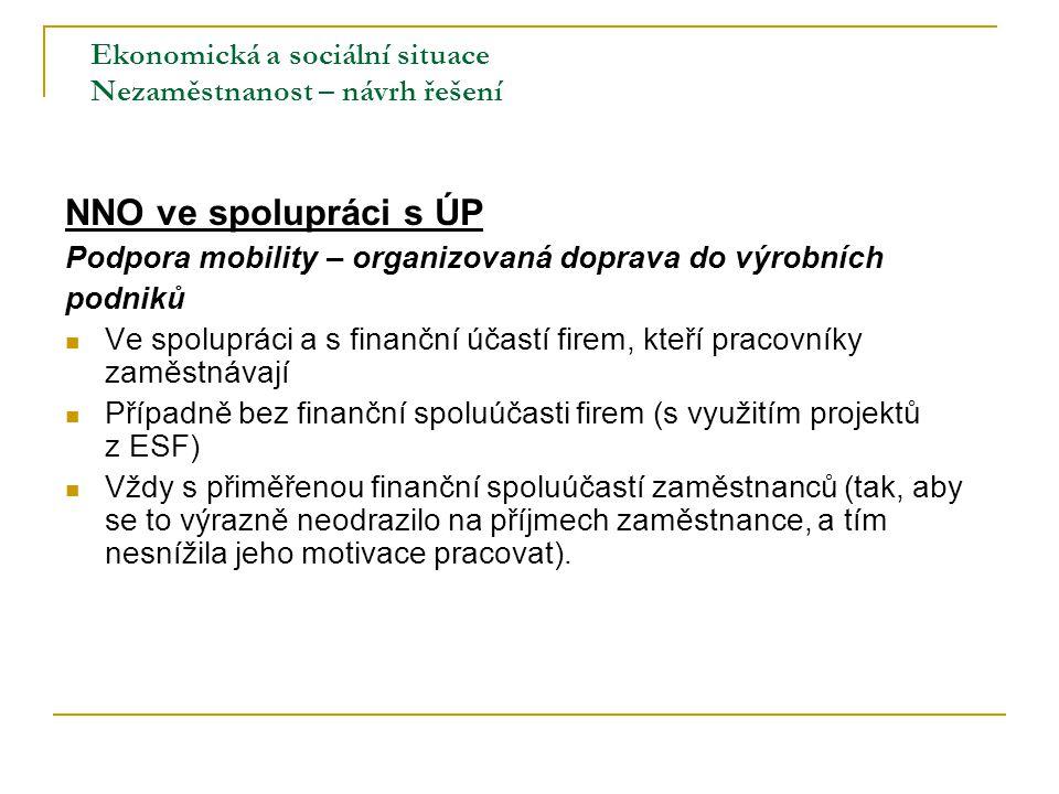 Ekonomická a sociální situace Nezaměstnanost – návrh řešení NNO ve spolupráci s ÚP Podpora mobility – organizovaná doprava do výrobních podniků Ve spo