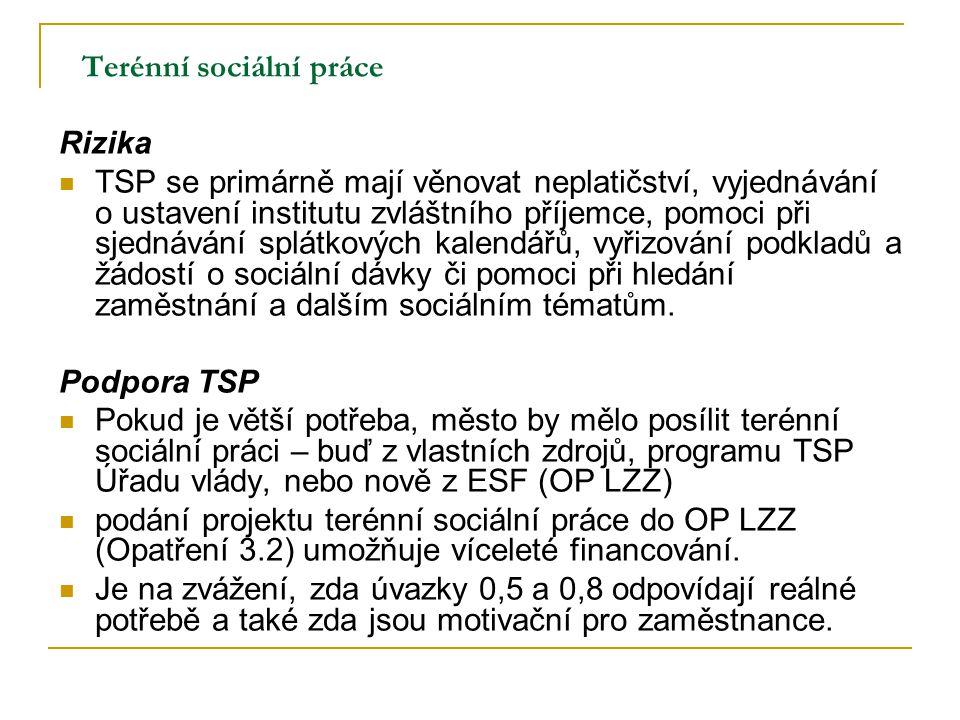 Terénní sociální práce Rizika TSP se primárně mají věnovat neplatičství, vyjednávání o ustavení institutu zvláštního příjemce, pomoci při sjednávání s