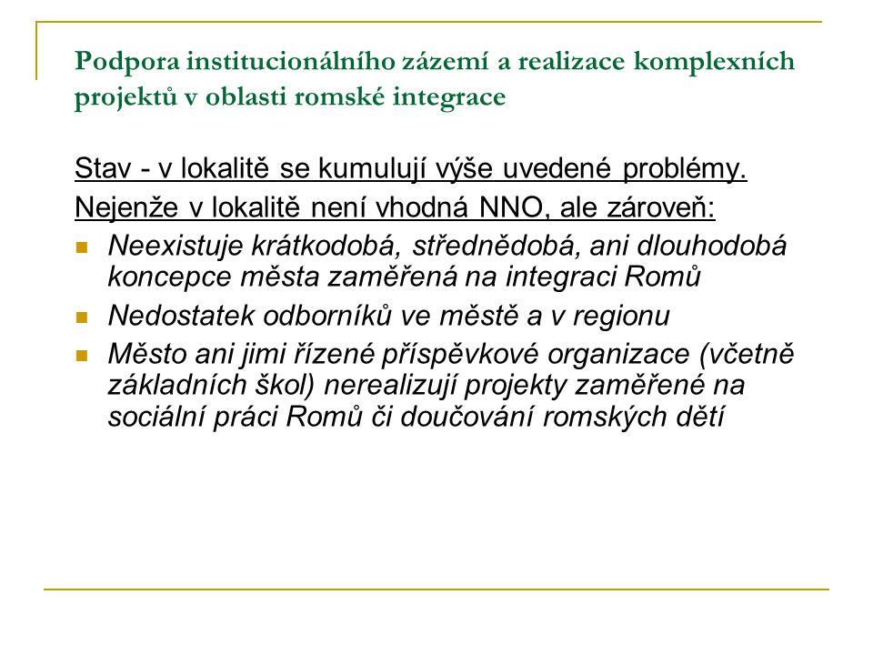 Podpora institucionálního zázemí a realizace komplexních projektů v oblasti romské integrace Stav - v lokalitě se kumulují výše uvedené problémy. Neje