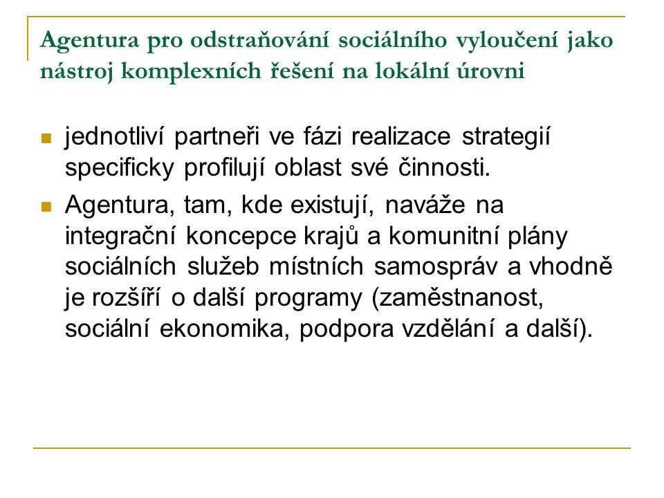 Agentura pro odstraňování sociálního vyloučení jako nástroj komplexních řešení na lokální úrovni jednotliví partneři ve fázi realizace strategií speci