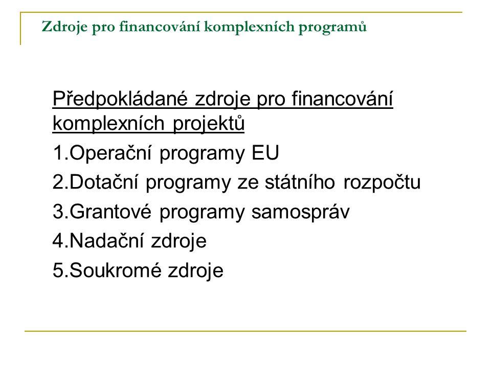 Zdroje pro financování komplexních programů Předpokládané zdroje pro financování komplexních projektů 1.Operační programy EU 2.Dotační programy ze stá