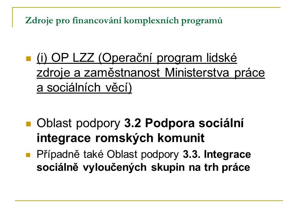 Zdroje pro financování komplexních programů (i) OP LZZ (Operační program lidské zdroje a zaměstnanost Ministerstva práce a sociálních věcí) Oblast pod