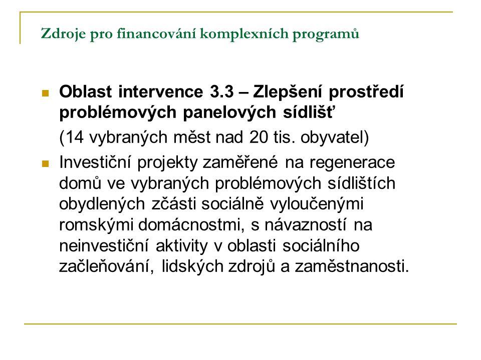 Zdroje pro financování komplexních programů Oblast intervence 3.3 – Zlepšení prostředí problémových panelových sídlišť (14 vybraných měst nad 20 tis.