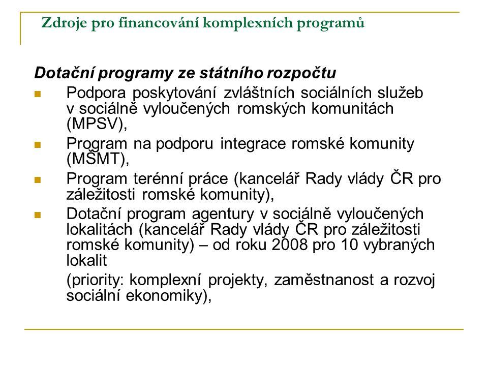 Zdroje pro financování komplexních programů Dotační programy ze státního rozpočtu Podpora poskytování zvláštních sociálních služeb v sociálně vyloučen