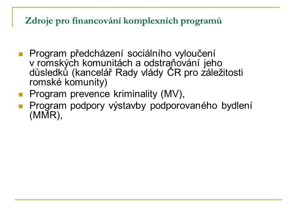 Zdroje pro financování komplexních programů Program předcházení sociálního vyloučení v romských komunitách a odstraňování jeho důsledků (kancelář Rady