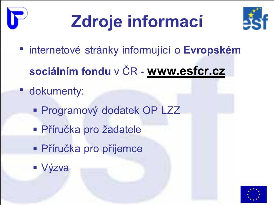 Zdroje informací internetové stránky informující o Evropském sociálním fondu v ČR - www.esfcr.cz dokumenty:  Programový dodatek OP LZZ  Příručka pro žadatele  Příručka pro příjemce  Výzva