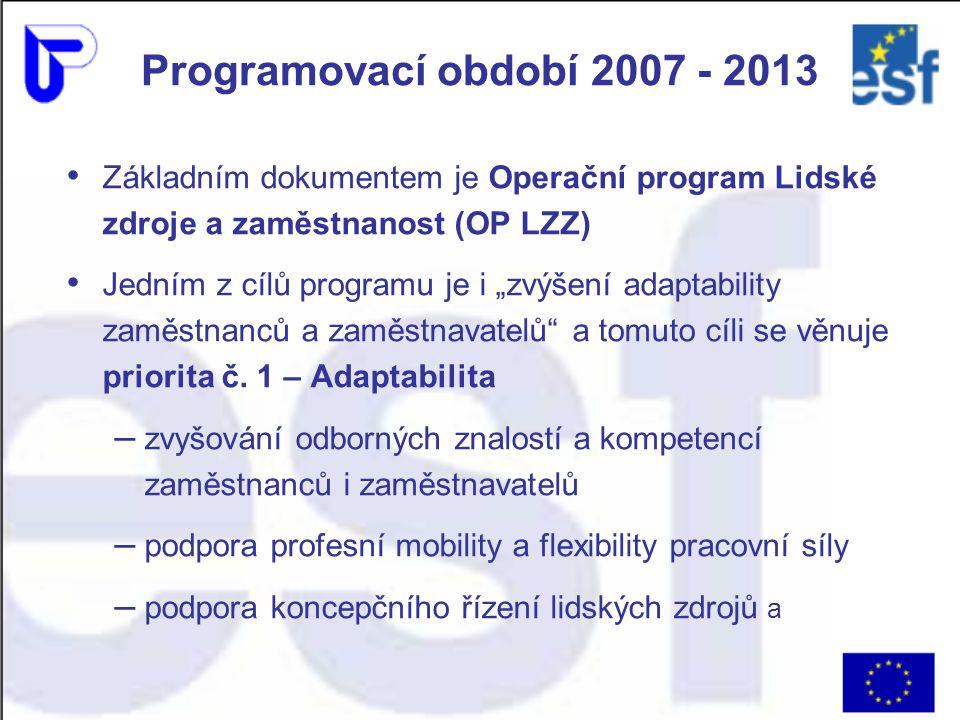"""Programovací období 2007 - 2013 Základním dokumentem je Operační program Lidské zdroje a zaměstnanost (OP LZZ) Jedním z cílů programu je i """"zvýšení adaptability zaměstnanců a zaměstnavatelů a tomuto cíli se věnuje priorita č."""