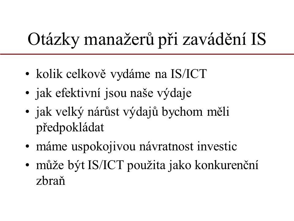 Náklady na IS a ICT rozlišení z časového hlediska: –jednorázové – investiční, neinvestiční –běžné (provozní) jednorázové náklady –řešení projektu –nákup a instalace technických prostředků