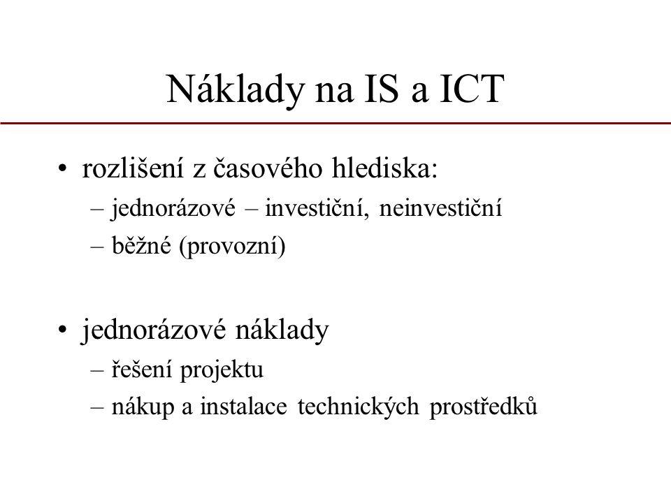 Náklady na IS a ICT rozlišení z časového hlediska: –jednorázové – investiční, neinvestiční –běžné (provozní) jednorázové náklady –řešení projektu –nák