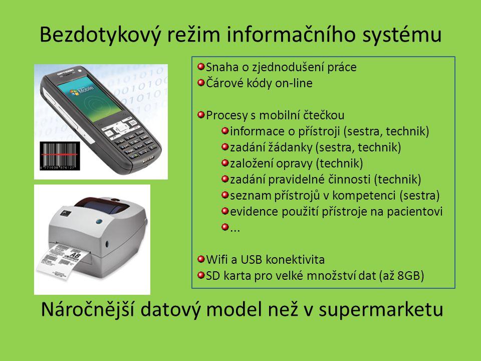 Bezdotykový režim informačního systému Snaha o zjednodušení práce Čárové kódy on-line Procesy s mobilní čtečkou informace o přístroji (sestra, technik
