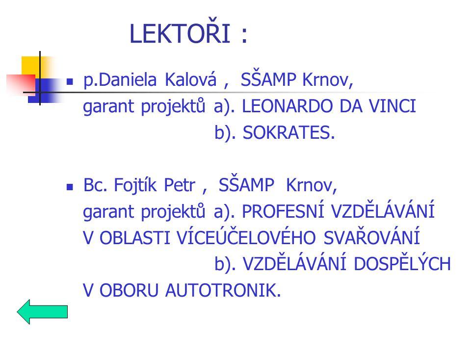 p.Daniela Kalová, SŠAMP Krnov, garant projektů a).