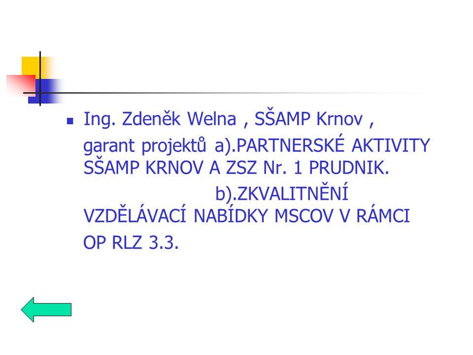 Ing. Zdeněk Welna, SŠAMP Krnov, garant projektů a).PARTNERSKÉ AKTIVITY SŠAMP KRNOV A ZSZ Nr.