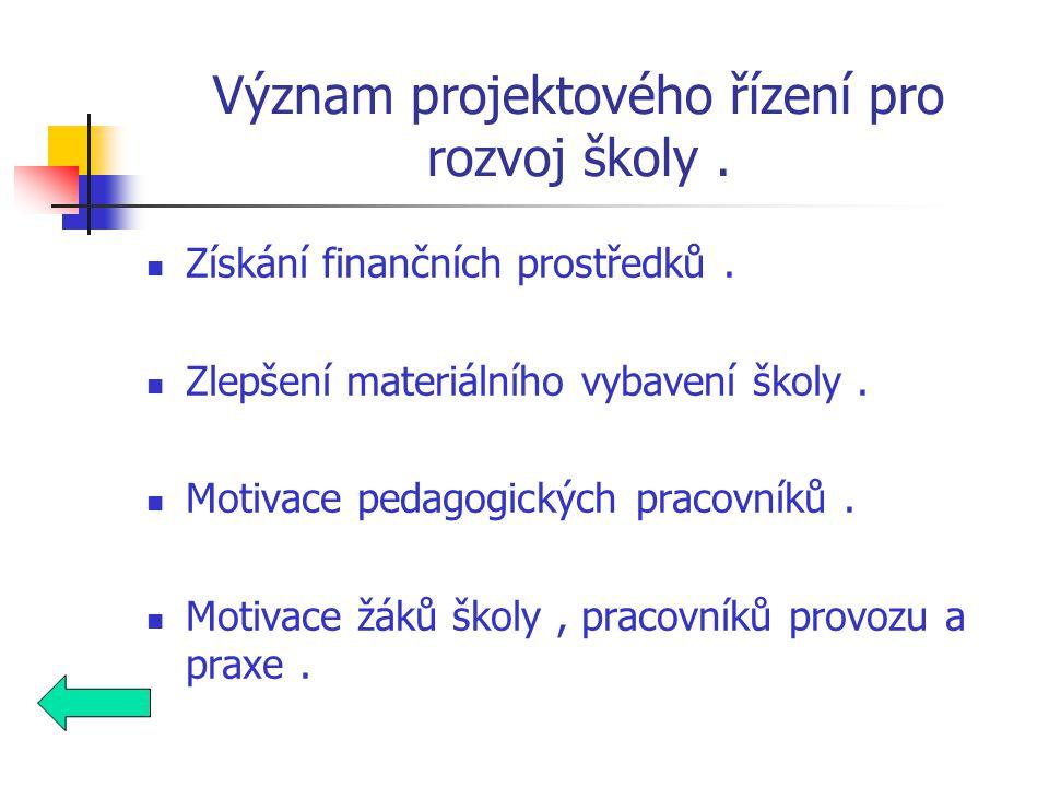 Význam projektového řízení pro rozvoj školy. Získání finančních prostředků.