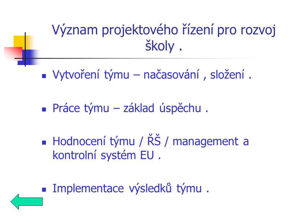 Význam projektového řízení pro rozvoj školy. Vytvoření týmu – načasování, složení.