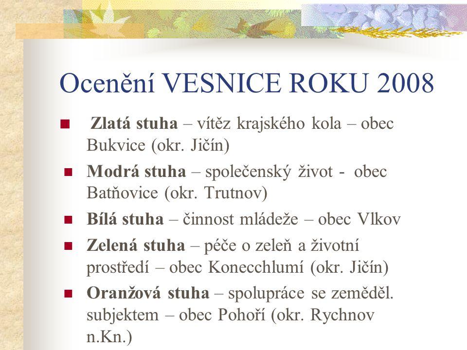 Ocenění VESNICE ROKU 2008 Zlatá stuha – vítěz krajského kola – obec Bukvice (okr.