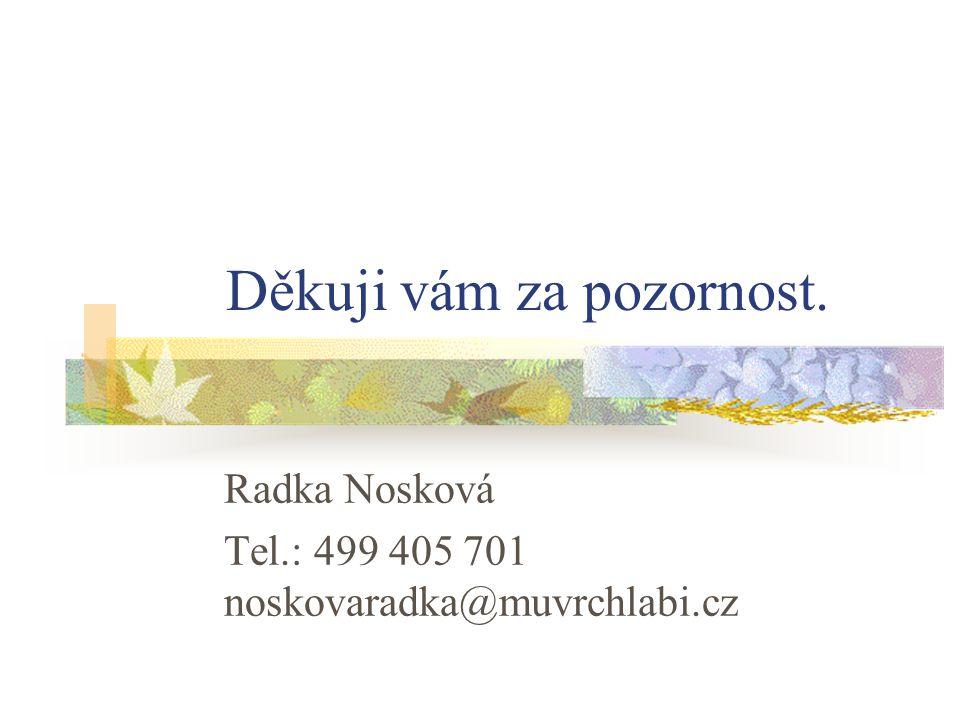 Děkuji vám za pozornost. Radka Nosková Tel.: 499 405 701 noskovaradka@muvrchlabi.cz