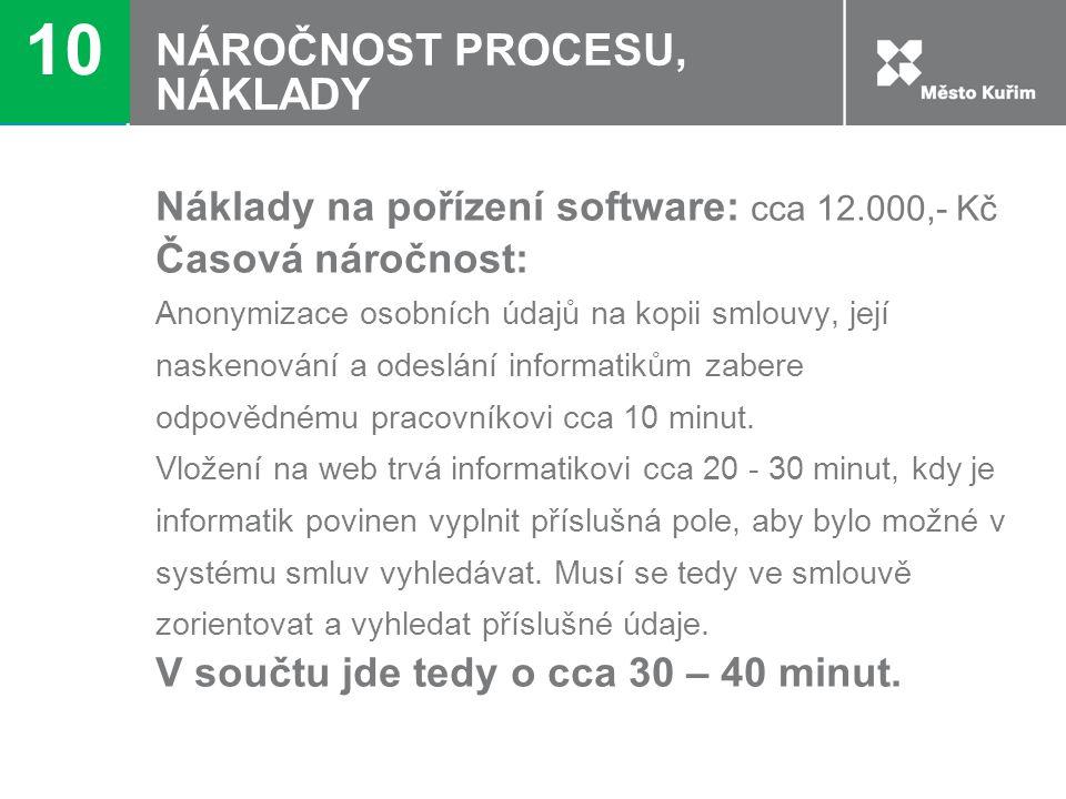 NÁROČNOST PROCESU, NÁKLADY Náklady na pořízení software: cca 12.000,- Kč Časová náročnost: Anonymizace osobních údajů na kopii smlouvy, její naskenová