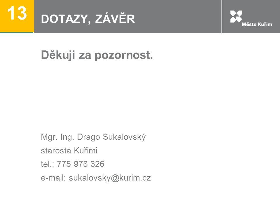 DOTAZY, ZÁVĚR Děkuji za pozornost. Mgr. Ing. Drago Sukalovský starosta Kuřimi tel.: 775 978 326 e-mail: sukalovsky@kurim.cz 13