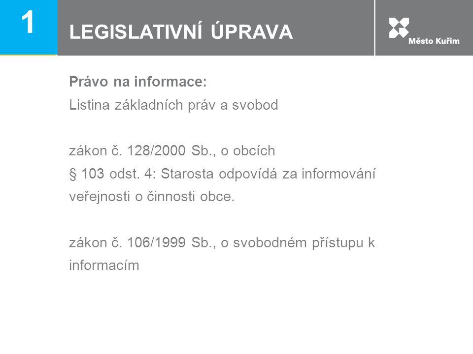 LEGISLATIVNÍ ÚPRAVA Právo na informace: Listina základních práv a svobod zákon č. 128/2000 Sb., o obcích § 103 odst. 4: Starosta odpovídá za informová