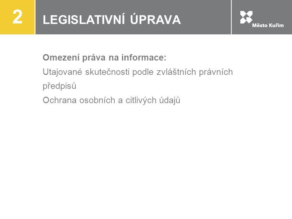 LEGISLATIVNÍ ÚPRAVA Omezení práva na informace: Utajované skutečnosti podle zvláštních právních předpisů Ochrana osobních a citlivých údajů 2