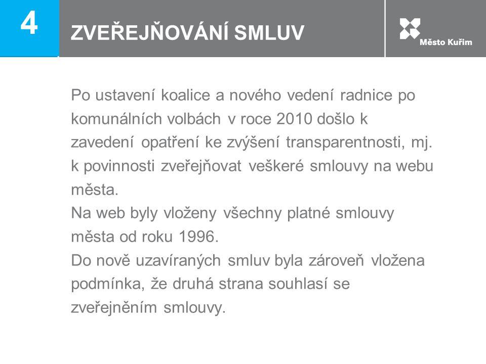ZVEŘEJŇOVÁNÍ SMLUV Po ustavení koalice a nového vedení radnice po komunálních volbách v roce 2010 došlo k zavedení opatření ke zvýšení transparentnost