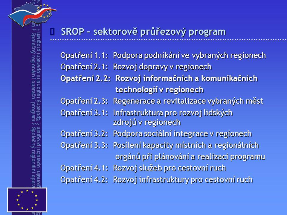 SROP – sektorově průřezový program  Opatření 1.1: Podpora podnikání ve vybraných regionech Opatření 2.1: Rozvoj dopravy v regionech Opatření 2.2: Rozvoj informačních a komunikačních technologií v regionech technologií v regionech Opatření 2.3: Regenerace a revitalizace vybraných měst Opatření 3.1: Infrastruktura pro rozvoj lidských zdrojů v regionech Opatření 3.2: Podpora sociální integrace v regionech Opatření 3.3: Posílení kapacity místních a regionálních orgánů při plánování a realizaci programu orgánů při plánování a realizaci programu Opatření 4.1: Rozvoj služeb pro cestovní ruch Opatření 4.2: Rozvoj infrastruktury pro cestovní ruch